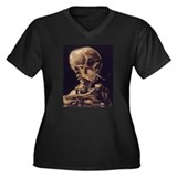 Van Gogh Skull Women's Plus Size V-Neck Dark Tee