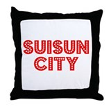 Retro Suisun City (Red) Throw Pillow
