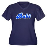 Retro Baki (Blue) Women's Plus Size V-Neck Dark T-