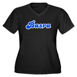 Retro Basra (Blue) Women's Plus Size V-Neck Dark T