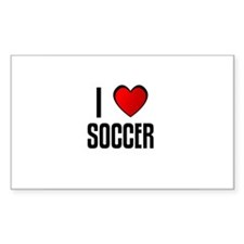 I LOVE SOCCER Rectangle Decal