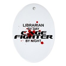 Librarian Cage Fighter by Night Oval Ornament