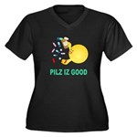 Pilz Is Good Women's Plus Size V-Neck Dark T-Shirt