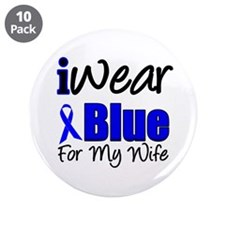 "I Wear Blue For My Wife 3.5"" Button (10 pack)"