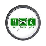 EAT SLEEP GOLF (grn) Wall Clock