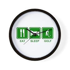 EAT SLEEP GOLF (grn) Wall Clock