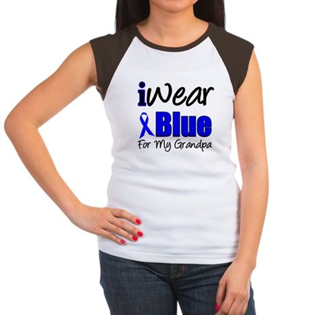 I Wear Blue For My Grandpa Women's Cap Sleeve T-Sh