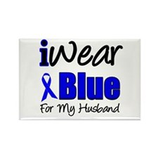 I Wear Blue For My Husband Rectangle Magnet (10 pa