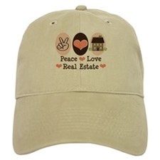 Peace Love Real Estate Agent Baseball Cap