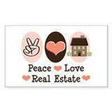 Peace Love Real Estate Agent Rectangle Decal