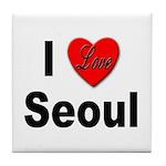 I Love Seoul South Korea Tile Coaster