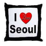 I Love Seoul South Korea Throw Pillow