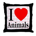 I Love Animals Throw Pillow
