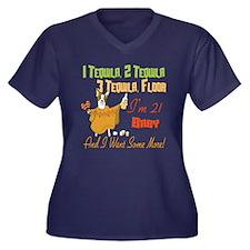 Tequila 21st Women's Plus Size V-Neck Dark T-Shirt