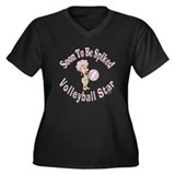 Volleyball Girl Women's Plus Size V-Neck Dark T-Sh