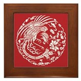 Chinese Red Dragon Framed Tile