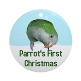 Quaker Parrot's First Christmas Ornament