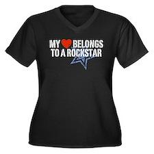 My Heart Belongs to a Rockstar Women's Plus Size V