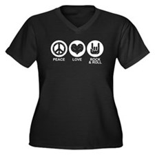 Peace Love Rock and Roll Women's Plus Size V-Neck
