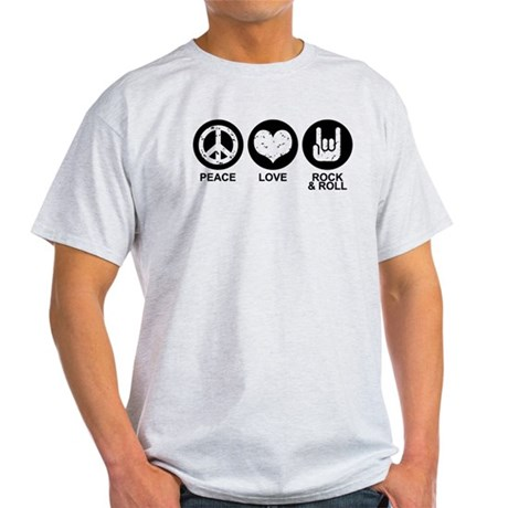 Peace Love Rock and Roll Light T-Shirt