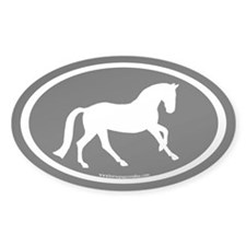 Canter Horse Oval (white/blk) Oval Decal