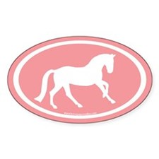 Canter Horse Oval (wh/salmon) Oval Sticker (50 pk)