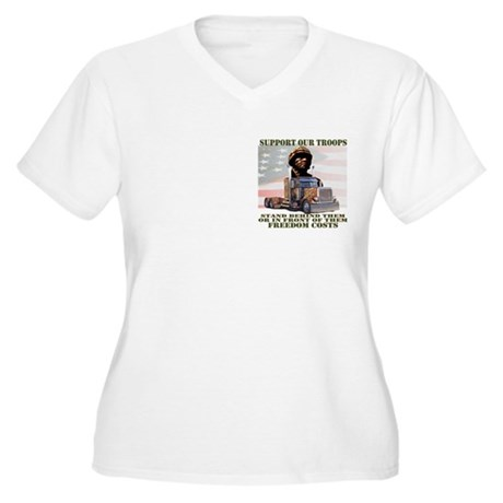 Truckers Support Our Troops Women's Plus Size V-Ne