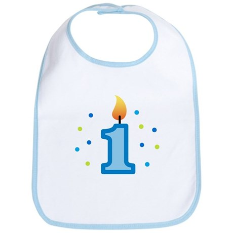 First Birthday - Candle (Boy) Bib