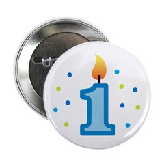 "First Birthday - Candle (Boy) 2.25"" Button"