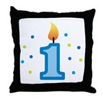 First Birthday - Candle (Boy) Throw Pillow