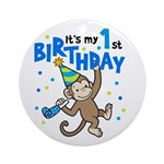 First Birthday - Monkey Ornament (Round)
