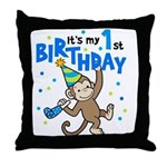 First Birthday - Monkey Throw Pillow