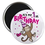 Unique 1st birthday monkey Magnet