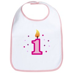 First Birthday - Candle (Girl) Bib