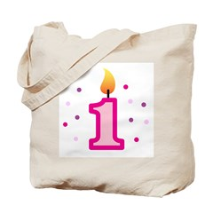 First Birthday - Candle (Girl) Tote Bag