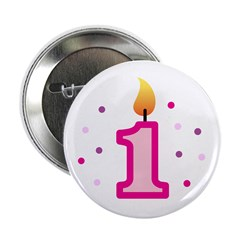 "First Birthday - Candle (Girl) 2.25"" Button"