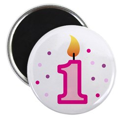 "First Birthday - Candle (Girl) 2.25"" Magnet (100 p"