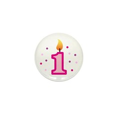 First Birthday - Candle (Girl) Mini Button (10 pac