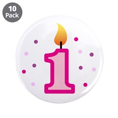 "First Birthday - Candle (Girl) 3.5"" Button (10 pac"
