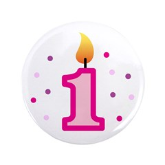 "First Birthday - Candle (Girl) 3.5"" Button (100 pa"