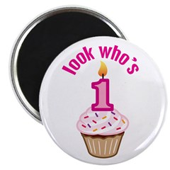 "First Birthday - Cupcake (Girl) 2.25"" Magnet (10 p"