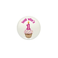 First Birthday - Cupcake (Girl) Mini Button (10 pa