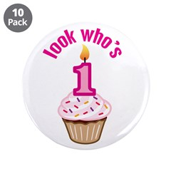 First Birthday - Cupcake (Girl) 3.5&quot; Button (10 pa