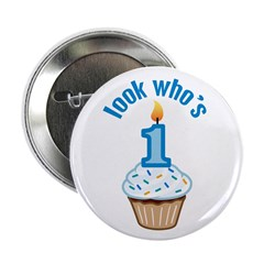 "First Birthday - Cupcake (Boy) 2.25"" Button (100 p"