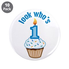 "First Birthday - Cupcake (Boy) 3.5"" Button (10 pac"
