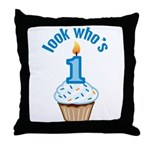 First Birthday - Cupcake (Boy) Throw Pillow