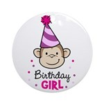 Birthday Girl - Monkey Ornament (Round)