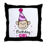 Birthday Girl - Monkey Throw Pillow