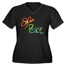 Grow Peace Women's Plus Size V-Neck Dark T-Shirt