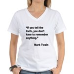 Mark Twain Truth Quote Women's V-Neck T-Shirt